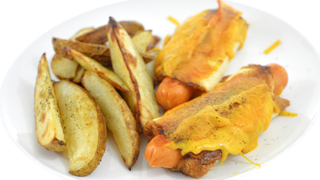 Grilled Cheese Hot Dogs & Potato Wedges Rich Bitch Cooking