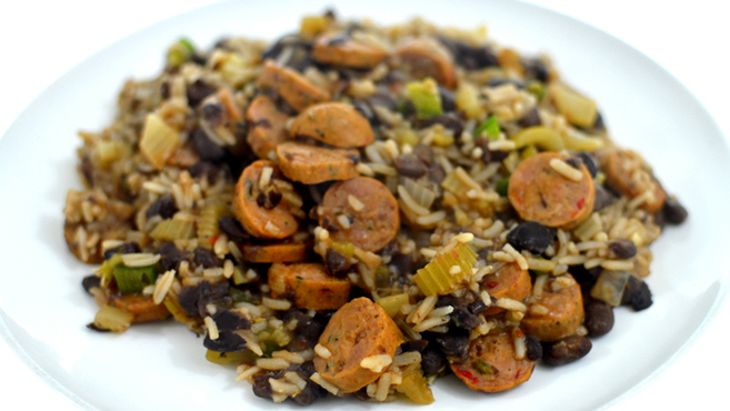 Cajun Dirty Beans & Rice with Sausage - Easy! Rich Bitch Cooking Blog
