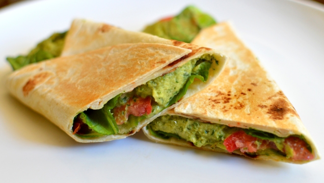 Best Grilled Pesto Wrap - Vegan, Creamy, Addicting!  Rich Bitch Cooking Blog