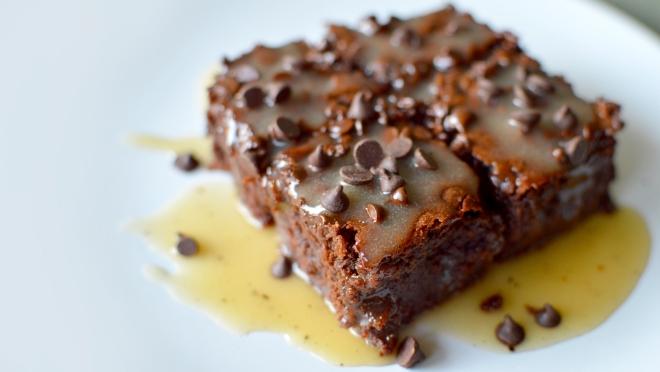 Vegan Chocolate Chip Brownies + Vegan Caramel Butterscotch Sauce Rich Bitch Cooking Blog