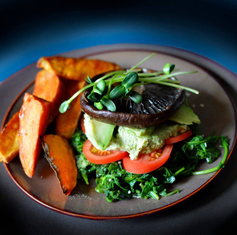 Portobella Mushroom Stack with Sweet Potato Wedges - Vegan & Paleo! Rich Bitch Cooking Blog