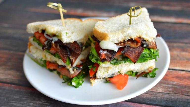 Vegan Ranch BLT - Portobello Mushroom Bacon - Rich Bitch Cooking Blog