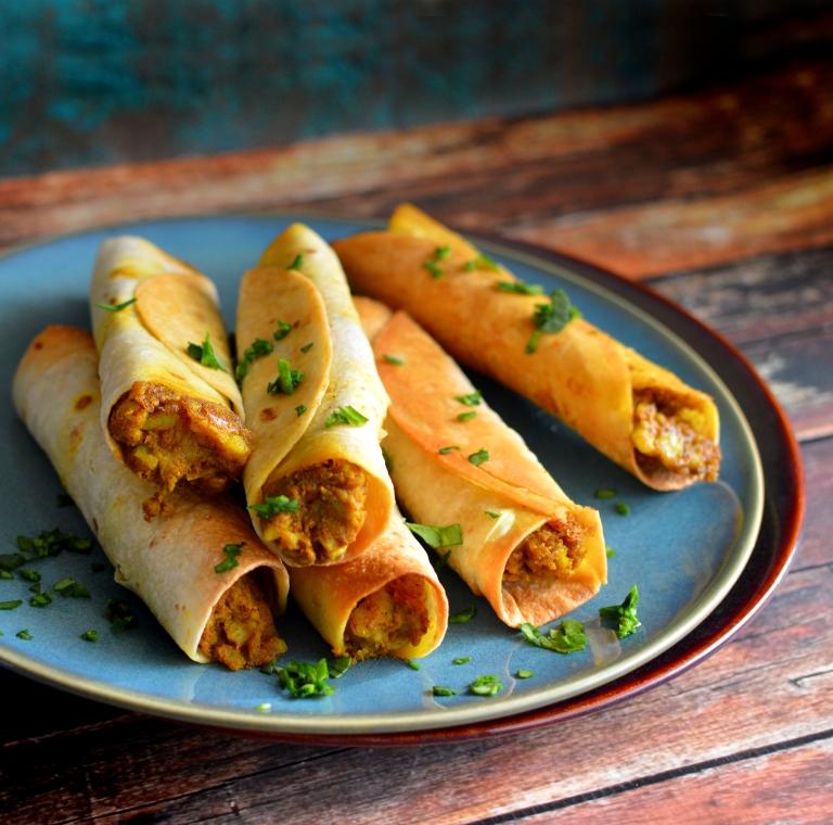 Vegan Baked Samosa Flautas - Indian Fusion Taquitos! Rich Bitch Cooking Blog