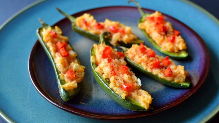 Vegan Cheesy Rice Stuffed Jalapenos - Fat Free - Rich Bitch Cooking Blog