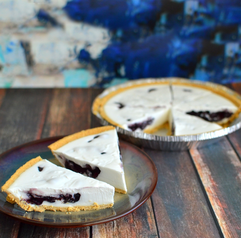 Vegan Blueberry Stuffed Cream Pie - No Bake - Rich Bitch Cooking Blog