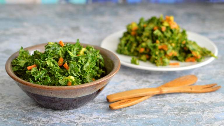 Simple Raw Vegan Cheesy Kale Salad - The best! Rich Bitch Cooking Blog