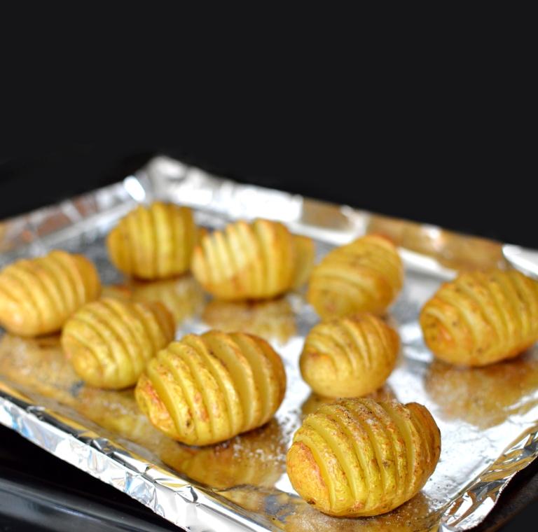 Vegan Hasselback Sliced Potatoes - Baked! Rich Bitch Cooking Blog