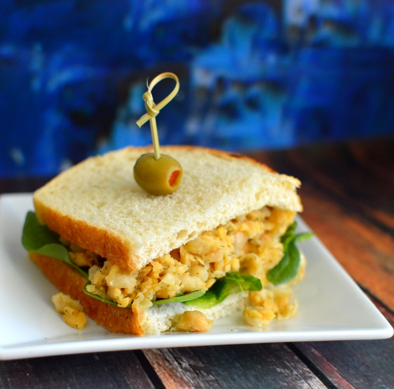 Vegan Mock Chicken Tuna Salad - Mashed Chickpeas! - Rich Bitch Cooking Blog