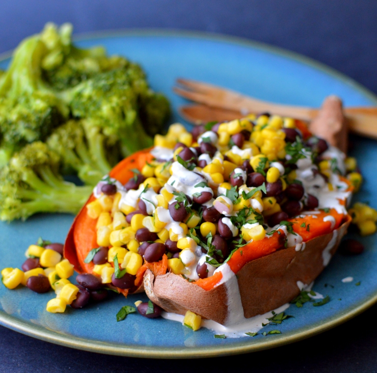 Vegan Baked Sweet Potato Stuffed w/ Black Bean & Corn - Rich Bitch Cooking Blog