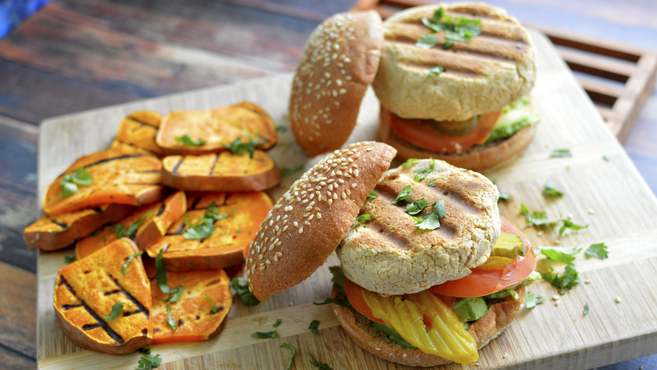 Vegan Grilled Hummus Burgers Sweet Potato George Foreman Grill Rich Bitch Cooking