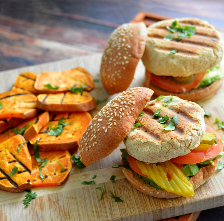 Vegan Grilled Hummus Patty Burgers + Grilled Sweet Potatoes (George Foreman Grill) - Rich Bitch Cooking Blog