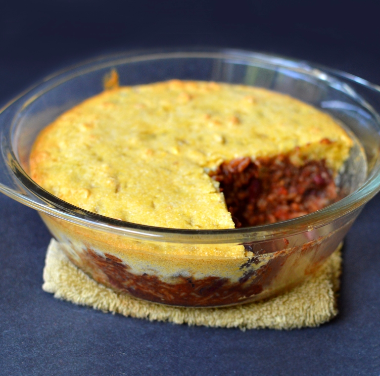 Vegan Chili Cornbread Casserole - Ultra Low Fat - Rich Bitch Cooking Blog