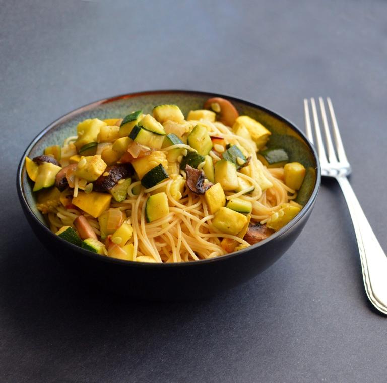 Vegan Roasted Veggies & Balsamic Angel Hair Pasta - Rich Bitch Cooking Blog