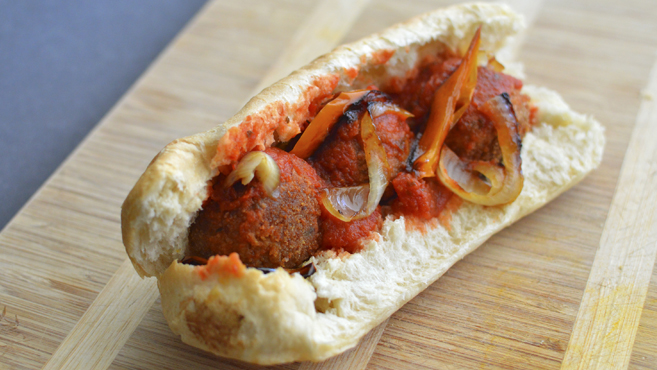 Vegan Italian Meatball Sub - Beans, Not Soy! - Rich Bitch Cooking Blog
