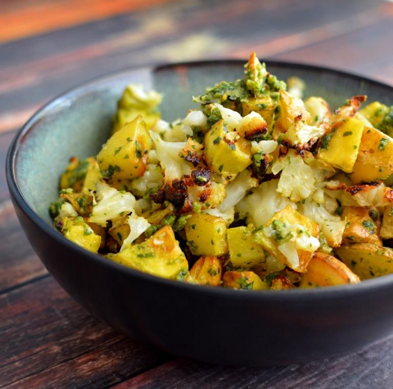 Vegan Pesto Roasted Potatoes & Cauliflower - Paleo - Rich Bitch Cooking Blog - Dairy Free - Gluten Free