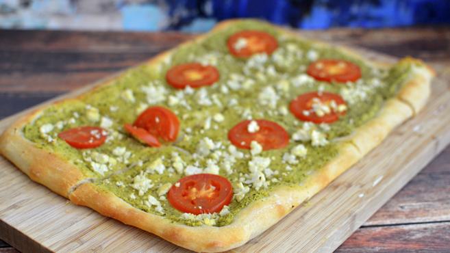 Vegan Pesto Pizza - Low Fat (Trader Joe's dough) - Rich Bitch Cooking Blog