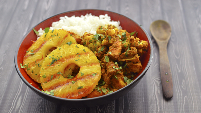 Vegan Indian Potato Curry + Grilled Pineapple - Rich Bitch Cooking Blog