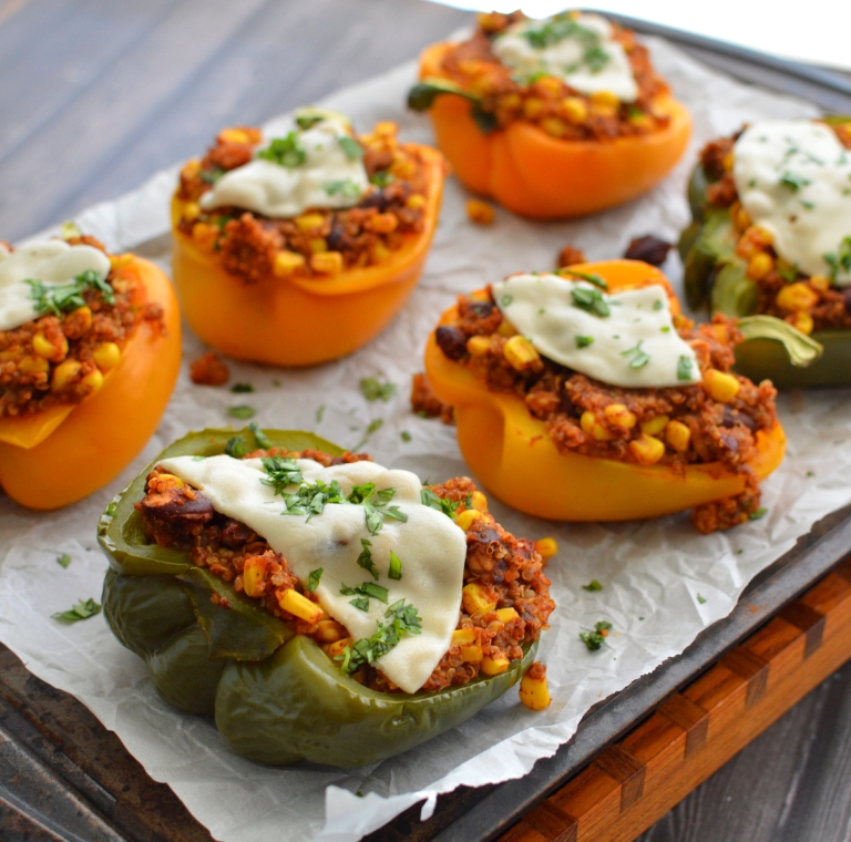Vegan Stuffed Bell Pepper - Cheesy Quinoa & Beans - Gluten Free - Rich Bitch Cooking Blog