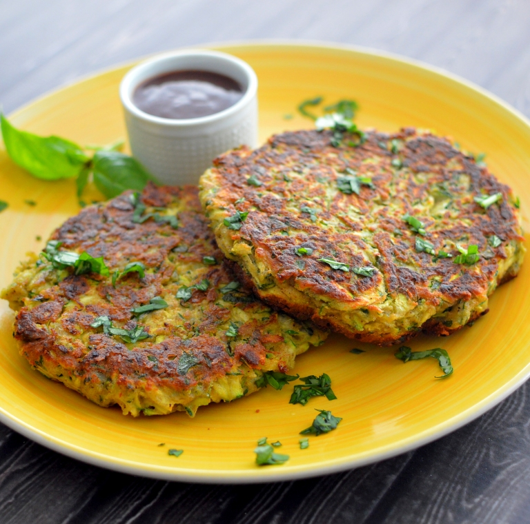 Vegan Crispy Zucchini Pancakes w/ Chickpea Flour - Rich Bitch Cooking Blog