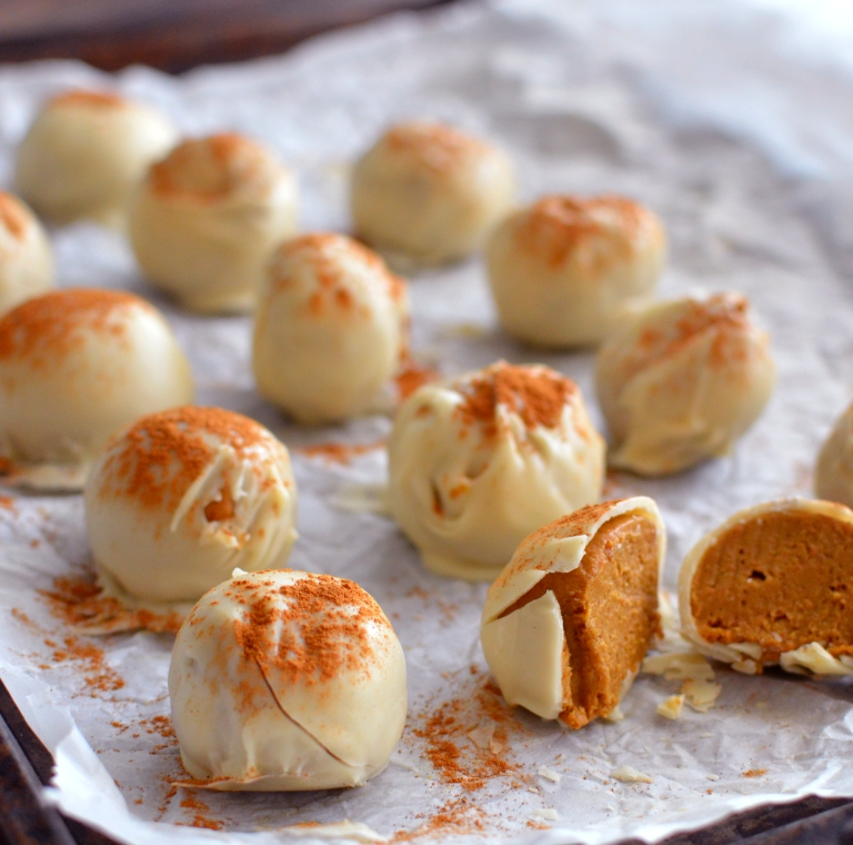 Vegan Pumpkin Pie Truffles In White Chocolate - Rich Bitch Cooking Blog