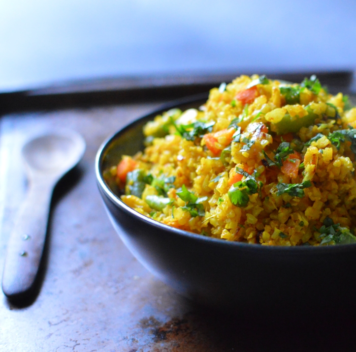 Vegan Indian Cauliflower Rice - Paleo George Foreman Grill Recipe - Rich Bitch Cooking Blog