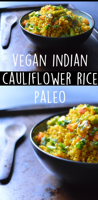 Vegan Indian Cauliflower Rice - Paleo George Foreman Grill Recipe - Rich Bitch Cooking Blog