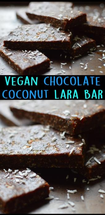 Vegan Chocolate Coconut Lara Bar - No Bake - Nut & Fruit Energy Bar - Rich Bitch Cooking Blog