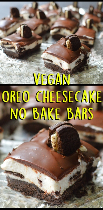 Vegan Oreo Cheesecake Bars - No Bake! - Rich Bitch Cooking Blog