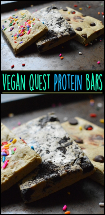 Vegan Quest Bars - Cookies n Cream, Cookie Dough & Cake Batter - No Bake Protein Bars - Rich Bitch Cooking Blog