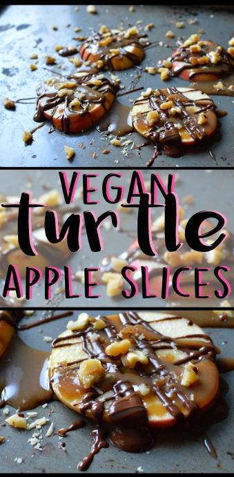 Vegan Turtle Apple Slices - Homemade Caramel Sauce - Rich Bitch Cooking Blog