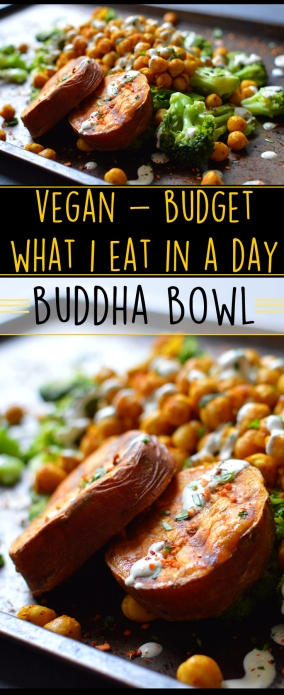 Vegan What I Eat In A Day - Budget (3#) - Buddha Bowl - Chickpeas, Broccoli, Sweet Potato, Tahini - Rich Bitch Cooking Blog
