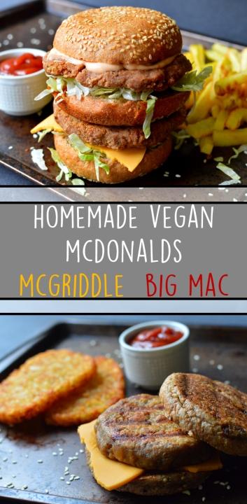 Vegan McDonalds - Big Mac + McGriddle - Healthy Fast Food Copycat Recipe - Rich Bitch Cooking Blog