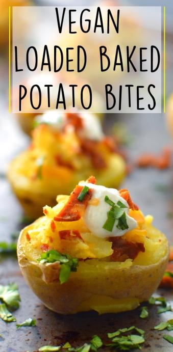 Vegan Loaded Baked Potato Bites - Appetizer - Rich Bitch Cooking Blog