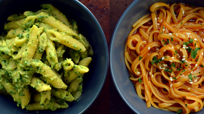 9 Vegan Pasta Dishes - Dinner For One - College Meals - Rich Bitch Cooking Blog