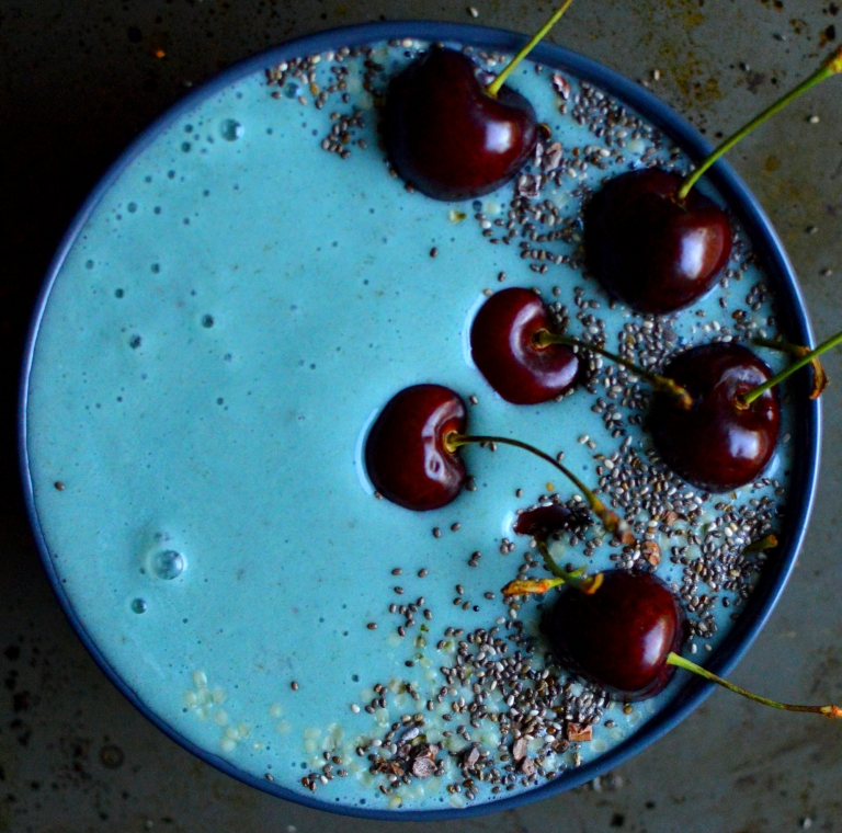 Vegan Blue Smoothie Bowl with Cherries, Chia, Cacao Nibs - Blue Spirulina Powder - Vegan What I Eat In A Day - Indian (#9) - Rich Bitch Cooking Blog