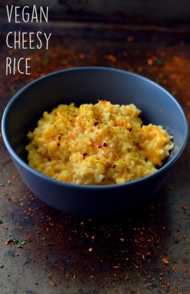 Vegan Cheesy Rice - 11 Vegan Rice Recipes - Rich Bitch Cooking Blog