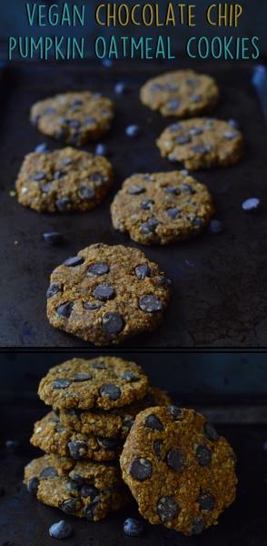3 Vegan Desserts - Chocolate Chip Pumpkin Oatmeal Cookie - Rich Bitch Cooking Blog