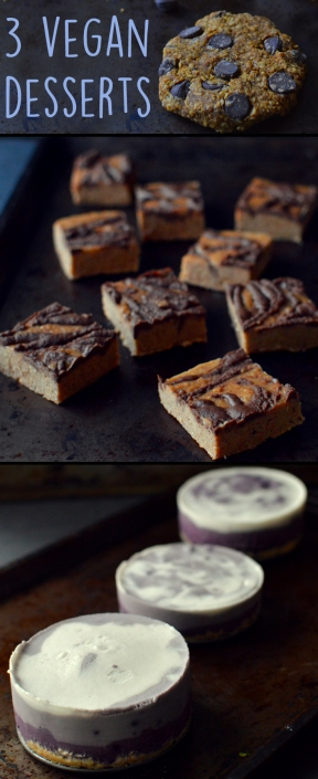 3 Vegan Desserts - Tiger Butter Fudge, Blueberry Coconut Pie, Chocolate Chip Pumpkin Oatmeal Cookie - Rich Bitch Cooking Blog