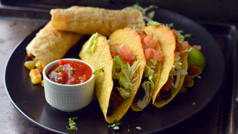 Vegan What I Eat In A Day - Mexican Feast (#6) - Crunchy Tacos, Potato Taquitos, Guacamole - Rich Bitch Cooking Blog
