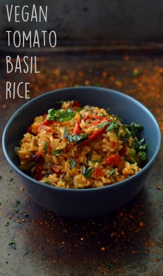 Vegan Tomato Basil Rice - 11 Vegan Rice Recipes - Rich Bitch Cooking Blog