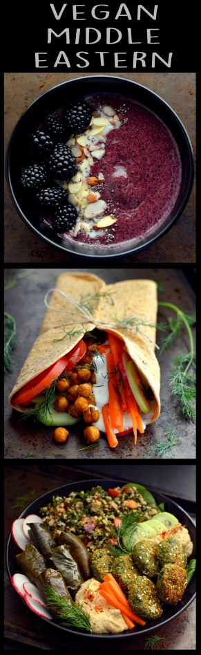 Vegan What I Eat In A Day - Middle Eastern (#11) - Hummus, Falafel, Dolmas, Chickpea Wrap on Flatbread, Blackberry Blueberry Purple Smoothie Bowl