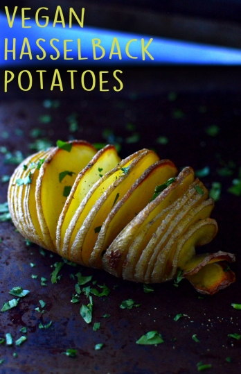 Vegan Hasselback Potatoes - 10 Ways To Cook Potatoes - VEGAN - Baked, Grilled, Mashed, Smashed, Fries, Chips, Duchess, Stacked, Wedges, Hash Browns, Patties, Hasselback - Rich Bitch Cooking Blog