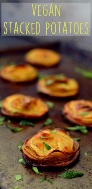 Vegan Crispy Stacked Potatoes - 10 Ways To Cook Potatoes - VEGAN - Baked, Grilled, Mashed, Smashed, Fries, Chips, Duchess, Stacked, Wedges, Hash Browns, Patties, Hasselback - Rich Bitch Cooking Blog