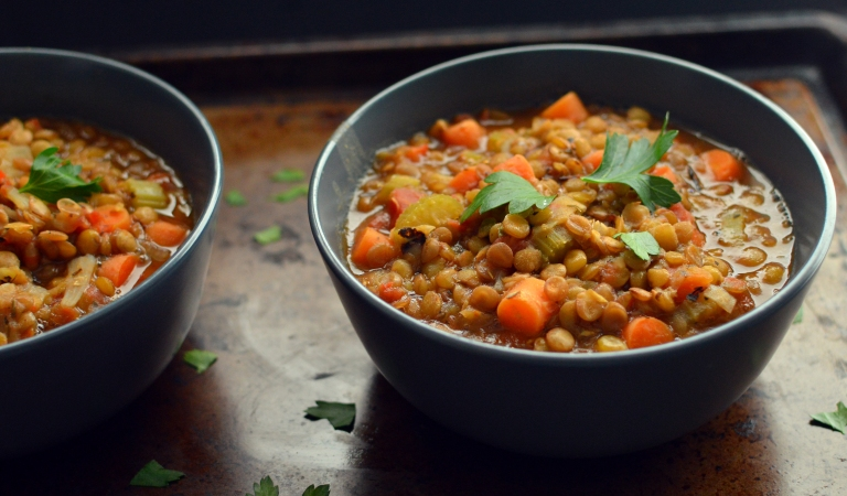 Vegan Green Lentil Vegetable Soup - 6 Vegan Soup Recipes - Easy Cheap - Rich Bitch Cooking Blog