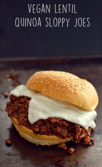 Vegan Sloppy Joes with Lentils + Quinoa - Vegan What I Eat In A Day - Pink (#13) - Rich Bitch Cooking Blog