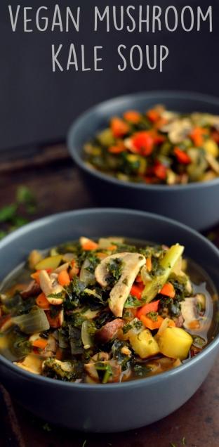 Vegan Mushroom Kale Soup - Low Calorie, Low Carb - Rich Bitch Cooking Blog