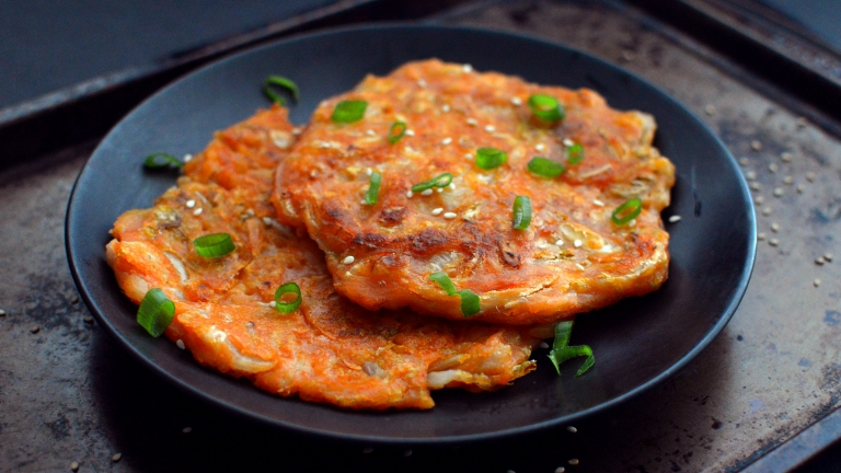 Vegan KimChi Pancake - Korean Jeon - Vegan What I Eat In A Day - Korean (#15)