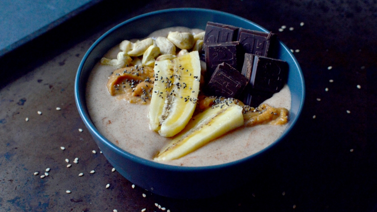 Vegan Cashew Butter + Chocolate Banana Smoothie Bowl - Vegan What I Eat In A Day - Korean (#15)