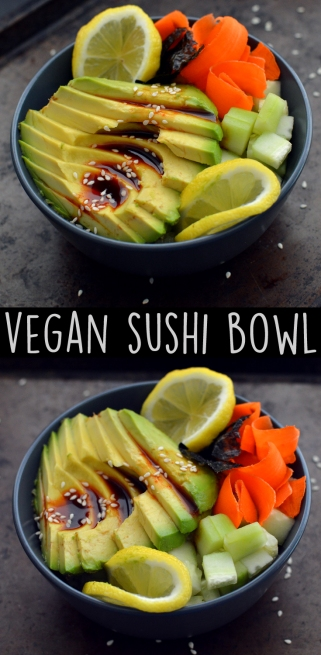 Vegan Sushi Roll Bowl - 3 Vegan Lunch Ideas - Easy - Rich Bitch Cooking Blog