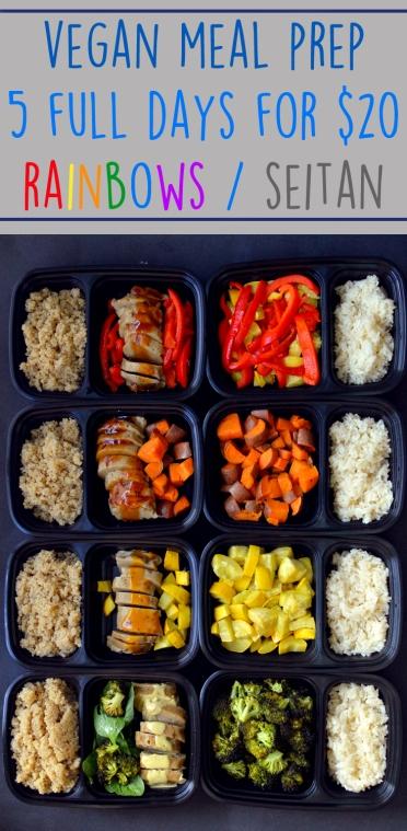 Cheap Vegan Meal Prep - 5 Full Days - Rainbow + Seitan - Budget Healthy - Rich Bitch Cooking Blog
